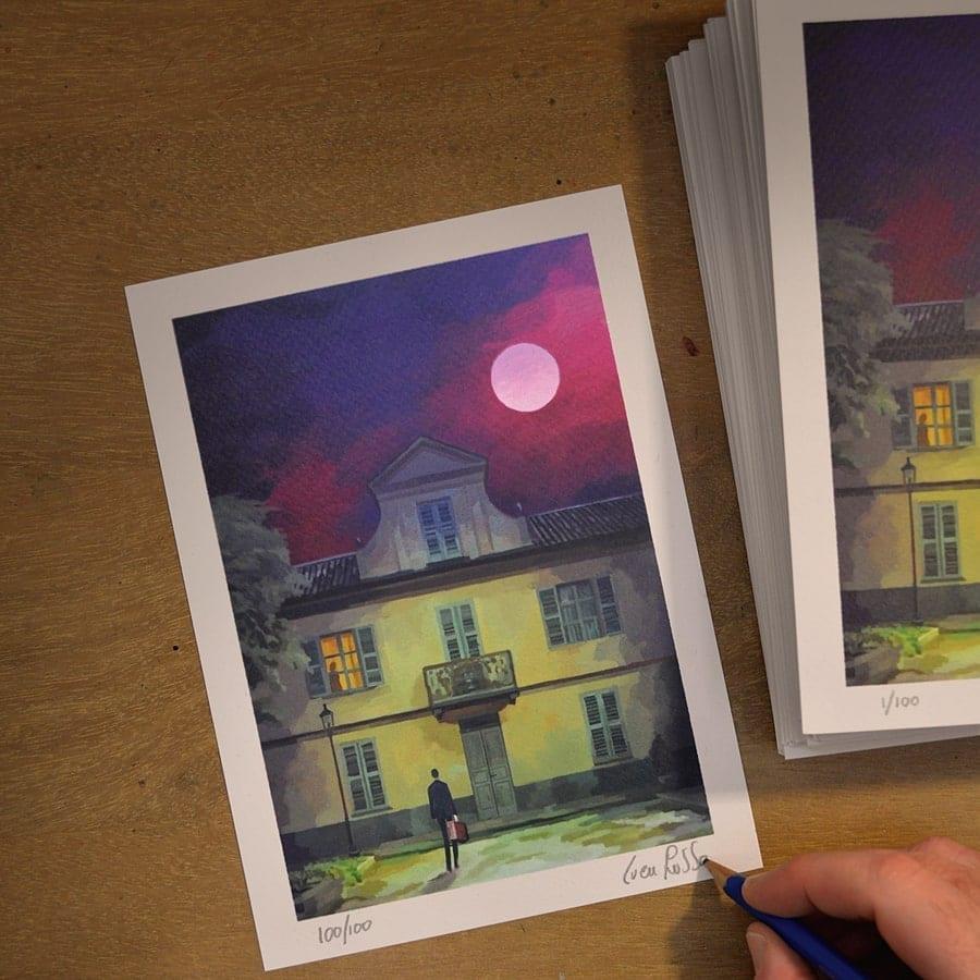 Stampa disegnata da Luca Russo per Tunué - La luna e i falò